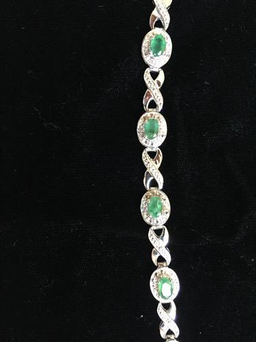 3.4CT Zambian Emerald/Diamond Bracelet in Sterling Silver