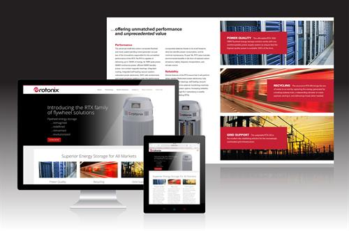 Integrated marketing for tech energy company-web design and collatral