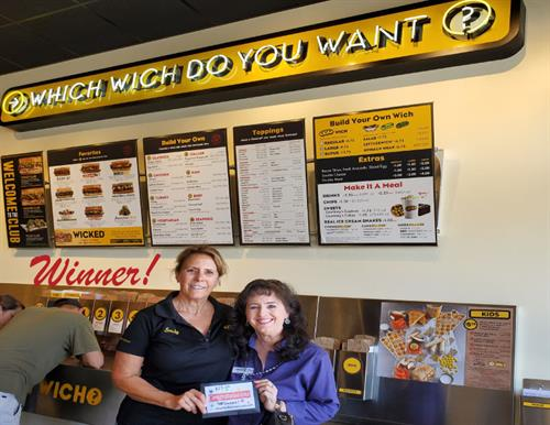 Congratulations Sandy Word at Which Wich. The Mega Mixer Winner From Amazing Business Loans for Free Money