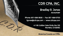 Business Card for CDR CPA, Inc.