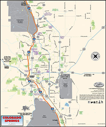 Area Map of Colorado Springs (©MARCOA Publishing)