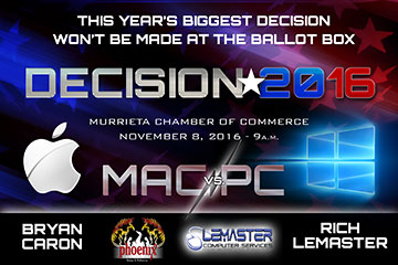 Flyer for Mac/PC Debate