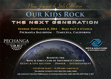 Flyer for Boys and Girls Club's Our Kids Rock Event