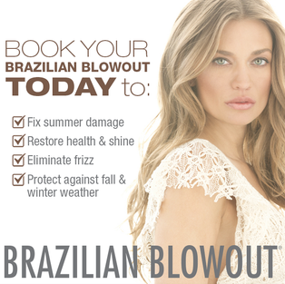 Brazilian Blowout professional smoothing treatments are the most innovative and effective in the world.  Through the use of breakthrough bonding technologies, these customizable smoothing treatments actually improve the condition of the hair by creating a protective protein layer around the hair shaft to eliminate frizz and smooth the cuticle.  The end result is smooth, frizz-free hair with radiant shine!