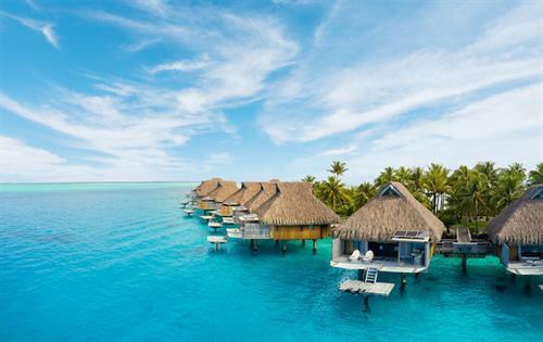 Over-water bungalows in Bora Bora, French Polynesia
