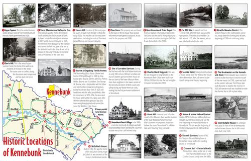 With the help of the Town of Kennebunk Bicentennial Committee, I mapped out this magazine centerspread of 20 historic locations in the town of Kennebunk.