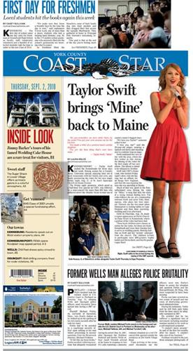Back in the day I worked for Seacoast Media Group and wrote, edited and designed pages. And, hey, I got to meet Taylor Swift when she came to Kennebunk!