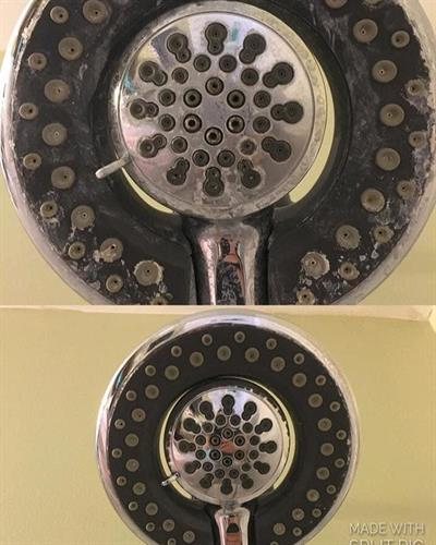 Shower head before and after