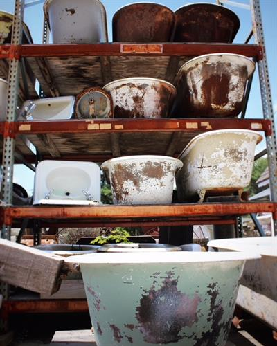 Dozens of tubs ready to be reclaimed.
