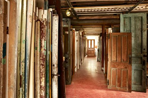 Thousands of salvaged doors.