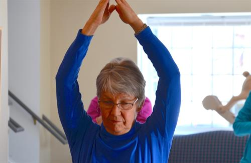 Yoga is a huge hit at the Center, both mat and chair increase flexibility and strength.