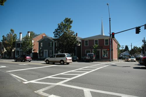The Brick Store Museum can be found at the intersection of Main Street (Route One) and Fletcher Street (Route 35).