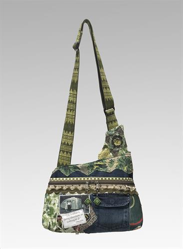 Medium Asymmetrical tote. Made from jeans, vintage images and fabrics.