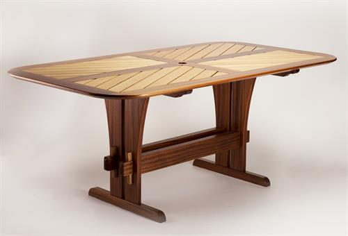 """Trestle"" table for six in Utile Mahogany and Cypress"