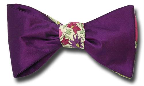 Half and Half Bow Tie Poppy Daisy Rose side B