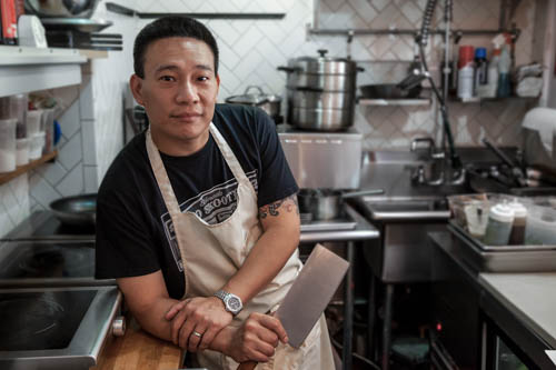 Chef Chris Cheung of East Wind Snack Shop in Brooklyn during a photo shoot for food, drinks, the restaurant and some promotional images for editorial