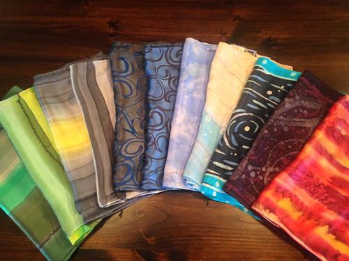 Hand painted silk scarves are the perfect accessory!