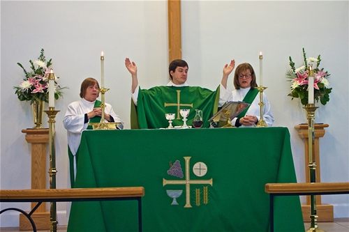 The Rev. Andrew D'Angio White and Deacons, The Rev. Kris Conley and the Rev. Gail Chandler