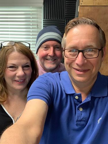 Tami and Andrew with Jeff of Radio Rehoboth after being interviewed