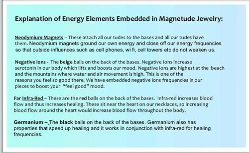 explination of energy elements embedded in Magnetude Jewelry