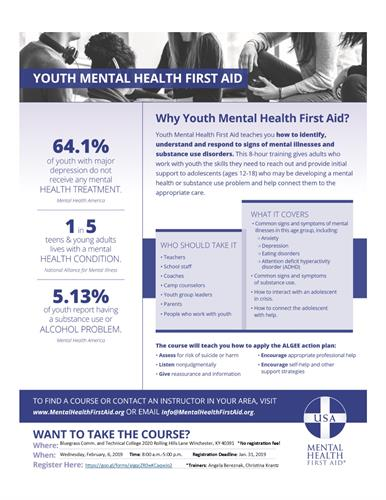 Youth Mental Health First Aid Training Feb 6 2019 Winchester
