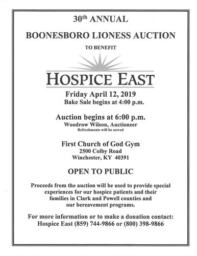 30th Annual Lioness Auction Benefitting Hospice East