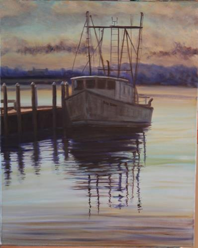 """Waiting"" oil painting by Dan on display/available at the ""Art Market Gallery"" (downstairs), Lyme Art Association, Lyme, CT)"