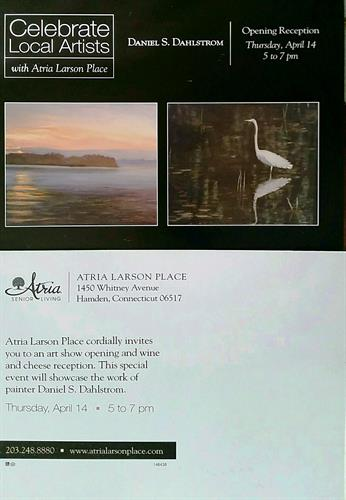 Art Show at Atria Larson Place on 4/14 from 5-7PM (Thurs) featuring Daniel S. Dahlstrom. Invitation attached.