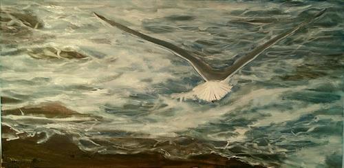"Oil Painting in Progress--""Seagull in Flight"""
