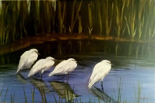 """Snowy Egrets"" Oil painting by Dan on display/available at Corinthian Yacht Club, Essex, CT"