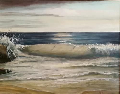 """""""Spray"""" oil painting by Dan is on exhibit at the Art Market Gallery, Lyme Art Association, Lyme , CT until  middle of Aug 2016"""