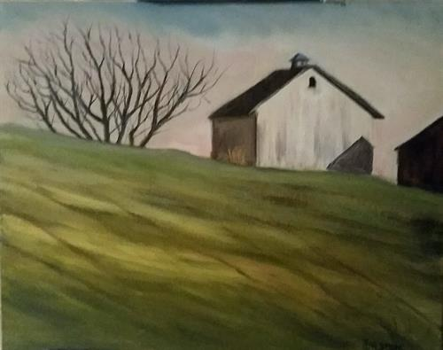 "Recently completed oil painting ""Barn on Hill""--for sale"