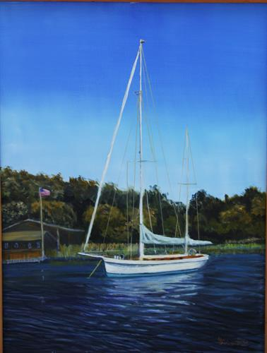 "Oil painting ""Moored at Lord's Cove"" available at Gilded Lily, Milford, CT"