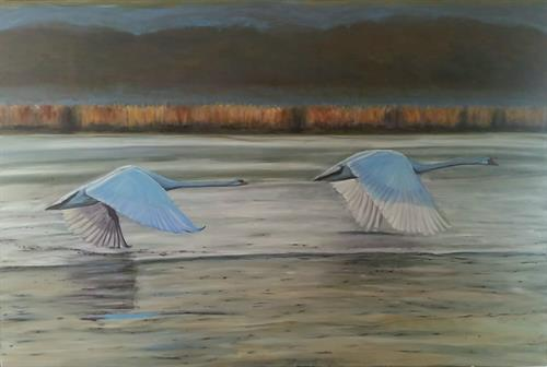 "Completed painting ""Swans in Flight"""