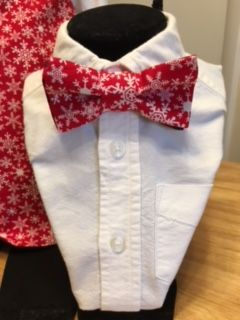 ...and now!   A BOW TIE  to match his sister's Little Dress!