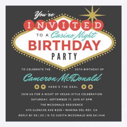 Birthday Invitation (Las Vegas/Theme)
