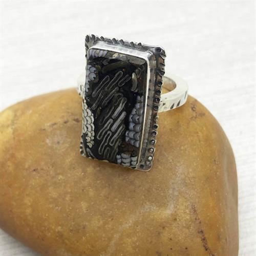 Snakeskin Agate Ring