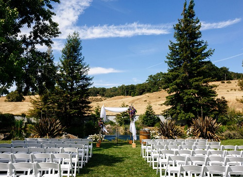 Ceremony on the lawn at Mountain House Estate.