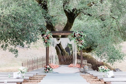 Oak Tree Terrace ceremony location at Mountain House Estate.