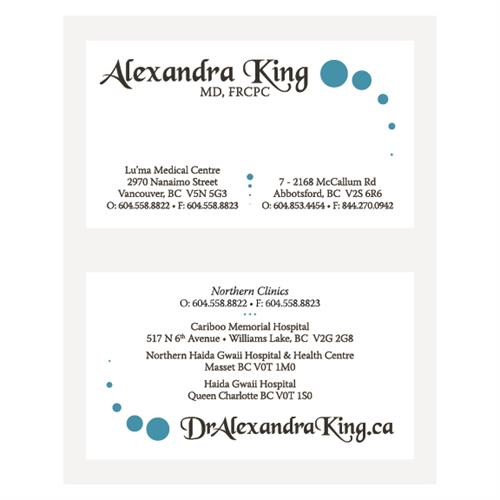 Dr. Alexandra King Business Cards