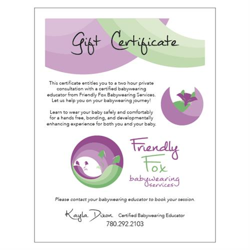 Friendly Fox Babywearing Services Gift Certificate