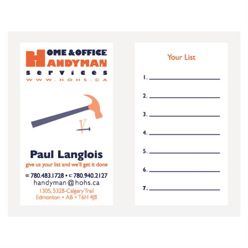 Home & Office Handyman Services Business Cards
