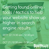 Member Event - Getting found online - tools/tactics to help your website show up higher in search engines