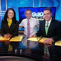 Michelle Dunaway, Adam Bartelmay and Chief Meteorologist Tom O'Hare on set
