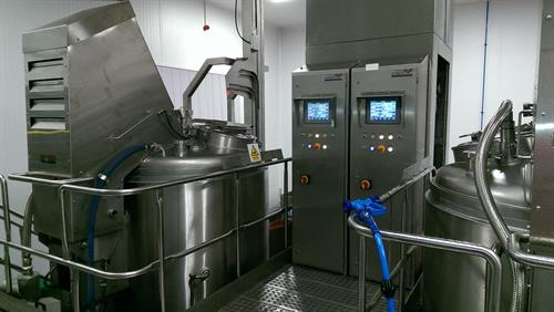 Sauce cooking system 2 x 600 gallon cooking kettles