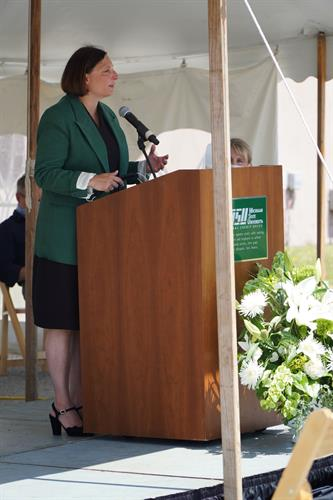 Groundbreaking Event 2020, US31 Branch - April Clobes, CEO of MSUFCU, sharing vision and plans for new branch