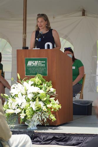 Groundbreaking Event 2020, US31 Branch - Brenda McLellan with Traverse Connect giving a welcome from the community to MSUFCU