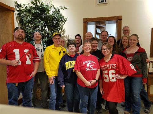The loan center team on college spirit day