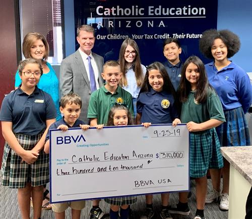 BBVA President, Brad Parker visited the CEA Offices for a check presentation and meet and greet with students from Xavier College Preparatory, St. Agnes, and Most Holy Trinity. BBVA is transforming banking to put the world's opportunities in your hands, and we are grateful for their support of the Corporate Tax Credit.
