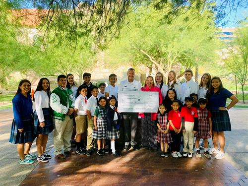 "Grand Canyon University has been helping our high school students ""Find Their Purpose"" through their Corporate Tax Credit Participation! St. Mary's, Xavier College Preparatory, St. Catherine of Siena, and St. Matthew students were excited to come help thank GCU for their outstanding support."